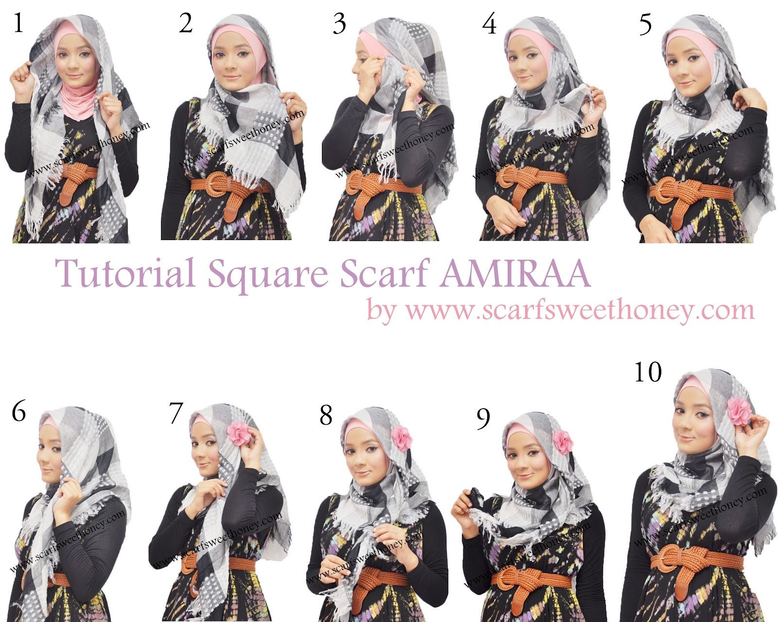 Tutorial Hijab Segi Empat Untuk Pemula Tutorial Hijab Paling