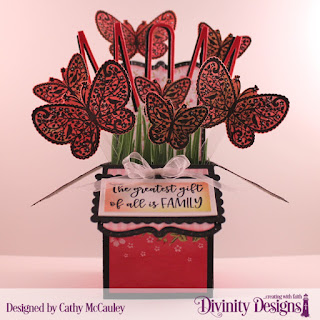 Divinity Designs Stamp/Die Duos: The Greatest Gift, Paper Collection: Pretty Pink Peonies, Custom Dies: Surprise Box with Layers, Grass Border, Rectangles, Scalloped Rectangles, Long & Lean Letters