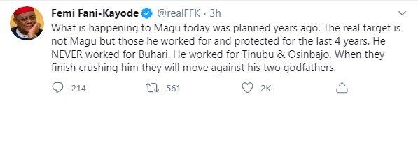 EFCC: Magu worked for Osinbajo, Tinubu, they are his godfathers – Fani-Kayode #Arewapublisize