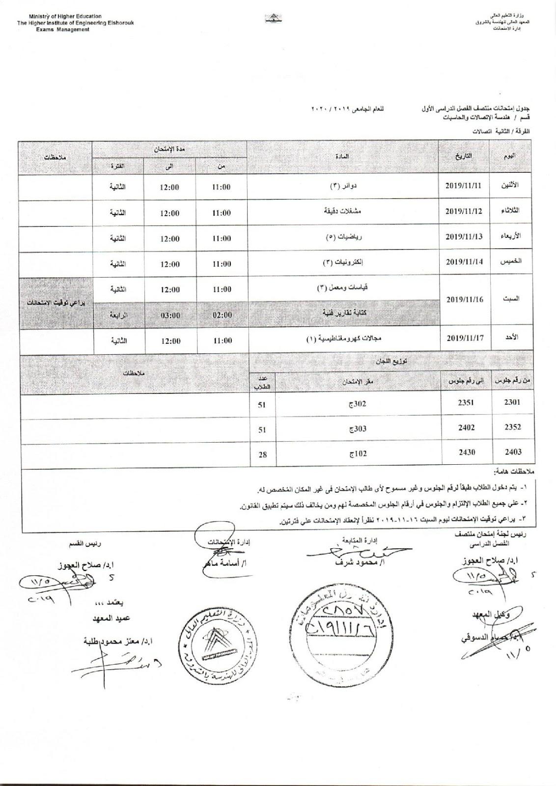 جدول امتحانات ثانية اتصالات هندسة الشروق الميدترم 2019-2020