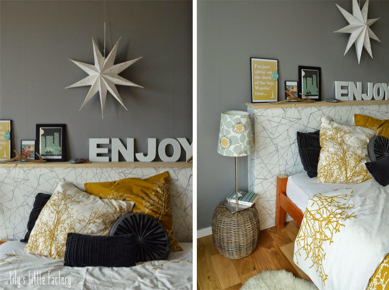 une t te de lit tag re porte photos ambiance d co. Black Bedroom Furniture Sets. Home Design Ideas