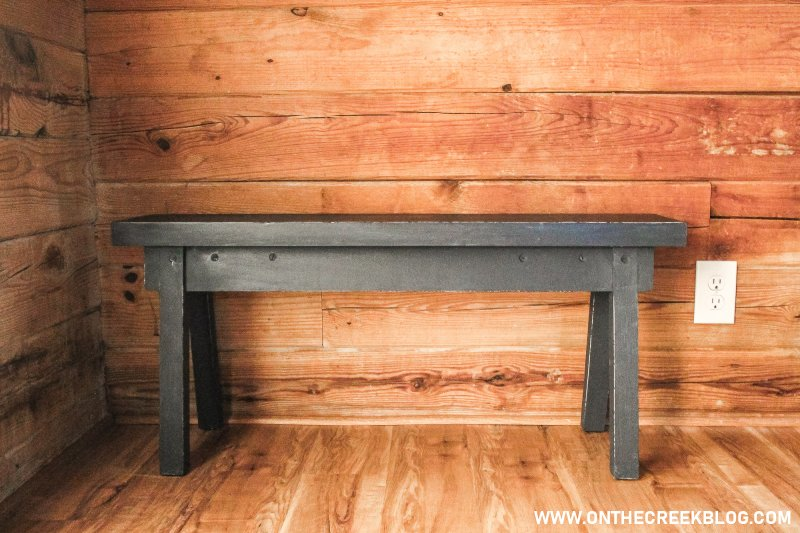An old bench picked up at a yard sale gets a new painted makeover! | On The Creek Blog