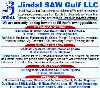 Jindal Saw Gulf LLC Recruitment ITI Holders For Abu Dhabi (U.A.E.) Locations   ITI Campus Drive at Govt. Divisional ITI Gwalior, Madhya Pradesh
