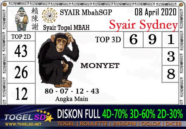 Syair Sidney Rabu 08 April 2020 - Syair Mbah SD