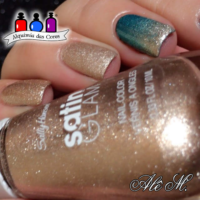 Hard as Nails Xtreme wear, Marine Scene, Satin Glam, 01 Go Gold, Matte Top Coat OPI, Alê M., Dourado, Turquesa