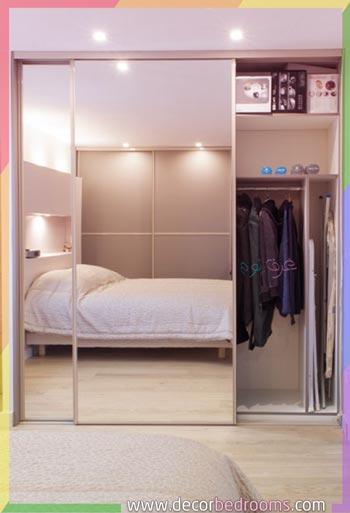 طريقة ترتيب خزانة ملابس زجاجية داخل غرف النوم