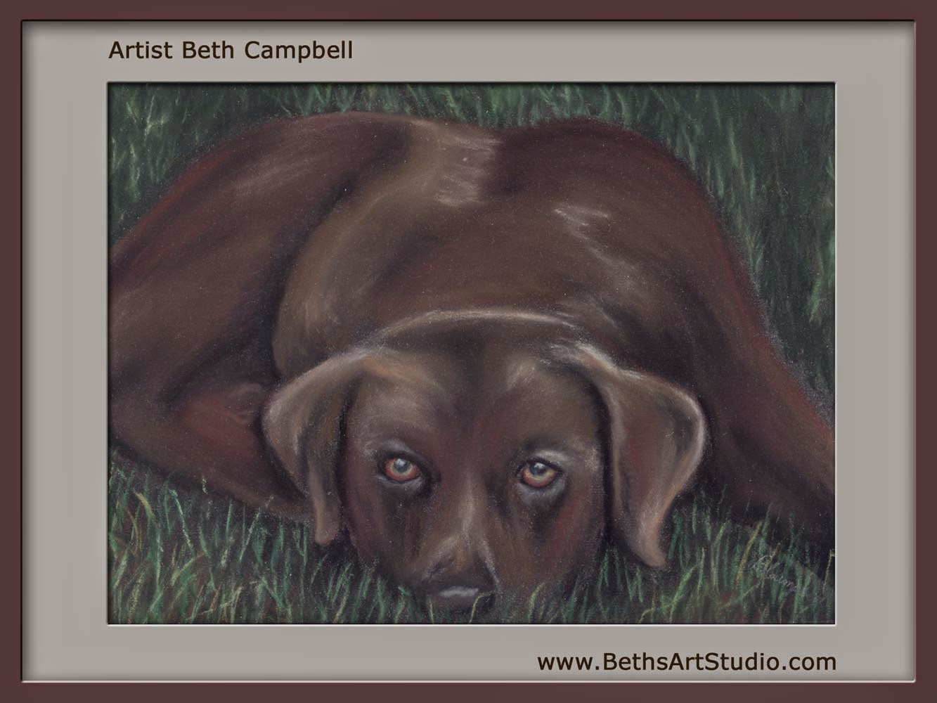 watchdog pastel painting pitbull