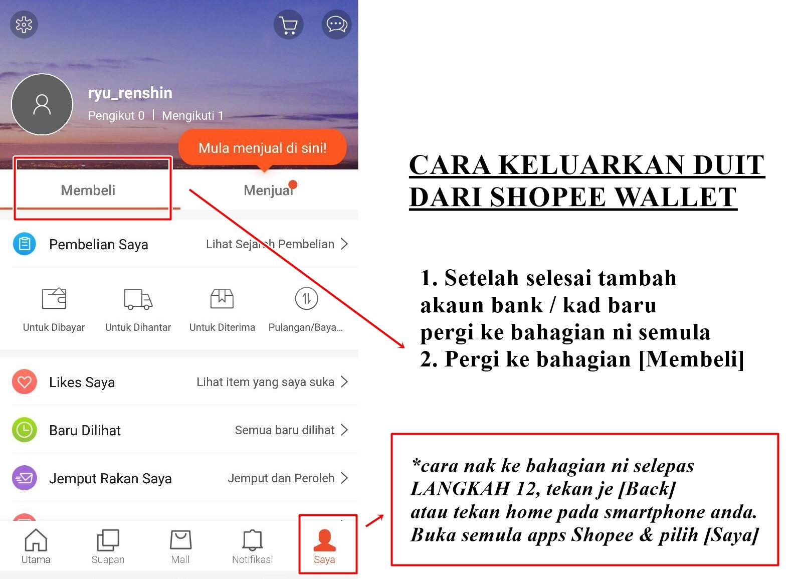 Cara Keluarkan Duit Dari Wallet Shopee