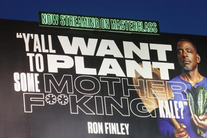 Ron Finley MasterClass neon sign billboard