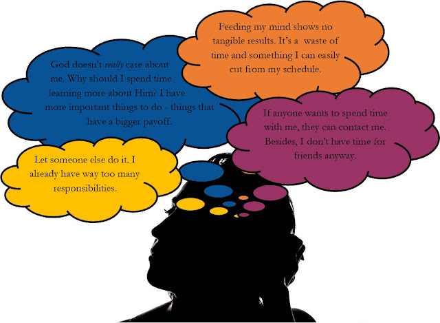 A silhouette of a woman with thought bubbles reflecting why it's okay for her to not perform a task.