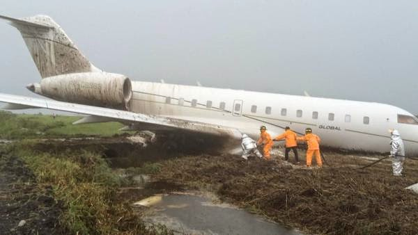 Private plane carrying cabinet officials skids off runway