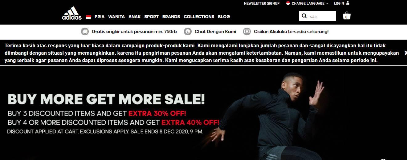 tempat menjual produk-produk Adidas yang ori seperti sepatu, sepatu futsal jaket kaos celana training dan semua produk Adidas asli lainnya