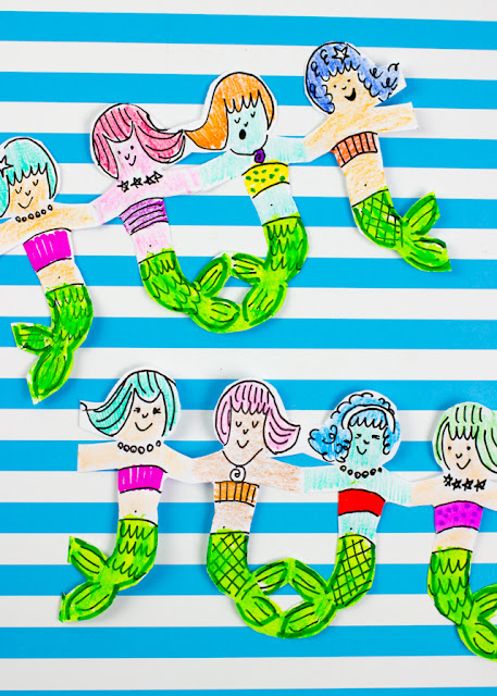 how to cut mermaid paper chains with kids- fun summer craft!