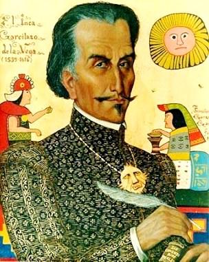 Dibujo del Inca Garcilaso de la Vega con su pluma a colores