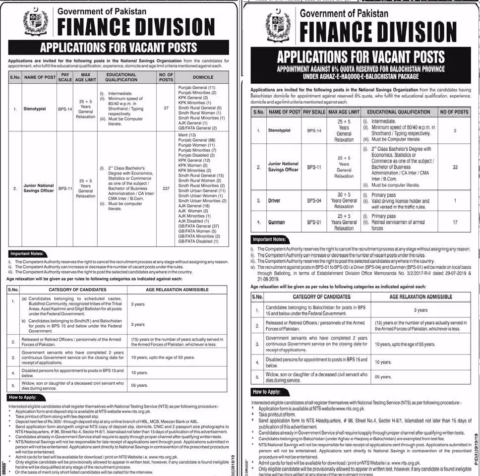 Finance Division NTS Jobs 2020