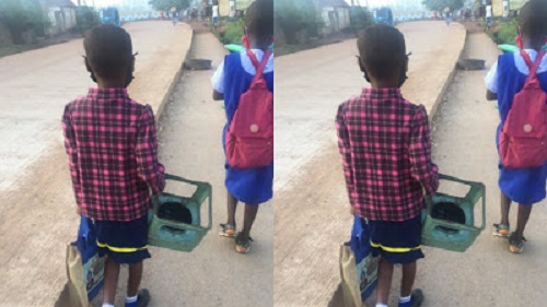 Nigerians react after primary school pupil is seen with a stove frame heading to school