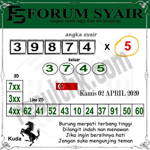 Prediksi Togel sgp kamis 02 april 2020 - prediksi forum syair