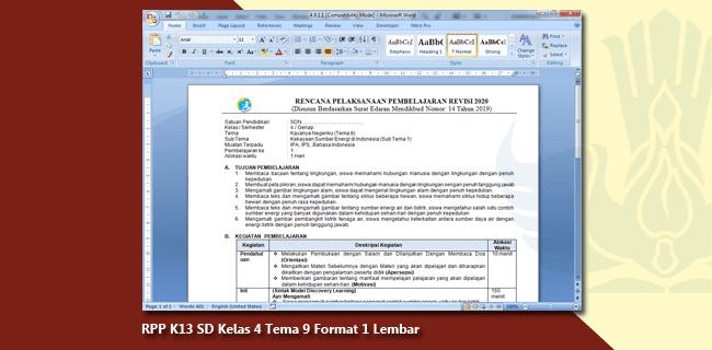 RPP K13 SD Kelas 4 Tema 9 Format 1 Lembar
