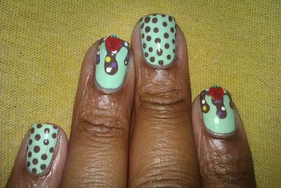 Mint, mint chip, ice cream, drip, nail art, mani
