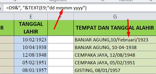 Cara Menggabungkan Tempat Dan Tanggal Lahir Di Excel