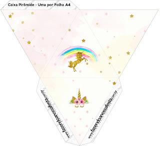 Caja con forma de pirámide de Fiesta de Unicornios.