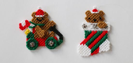 Teddy Bear Plastic Canvas Christmas Wagon and Stocking Ornaments