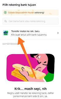 5. Tekan 'transfer instan ke rekening bank baru'.