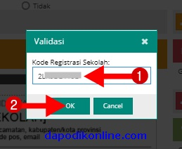 Masukkan kode registrasi dapodik, kemudian klik OK