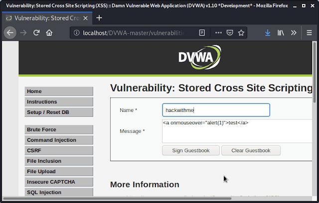 stored XSS dvwa