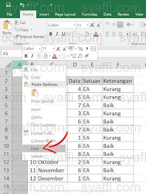 Cara Hide di Excel