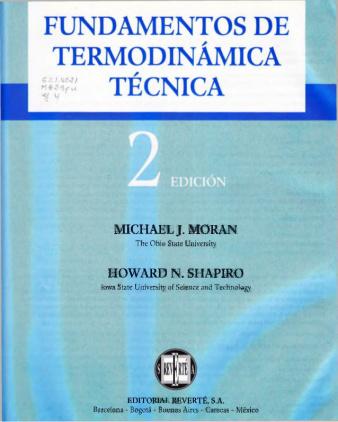 libro fundamentos de termodinamica tecnica moran shapiro