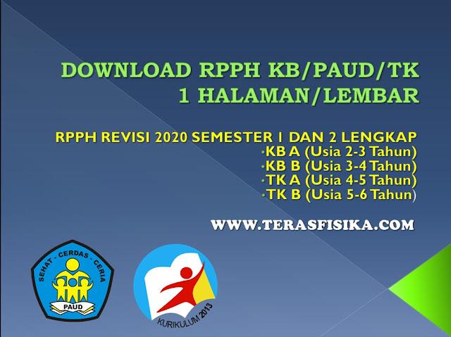RPPH 1 Halaman PAUD TK Semester 1 dan 2