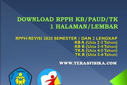 Download RPPH KB/PAUD/TK 1 Halaman/Lembar Revisi 2020 Semester 1 dan 2