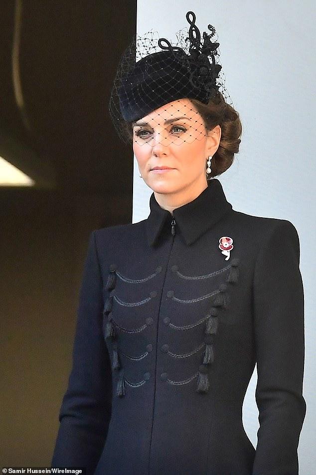 Meghan Markle and Kate Middleton look sombre in elegant black coats