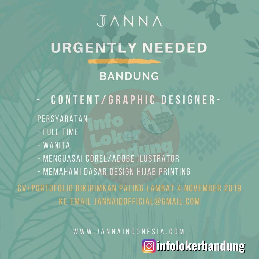 Lowongan Kerja Janna Indonesia Bandung November 2019