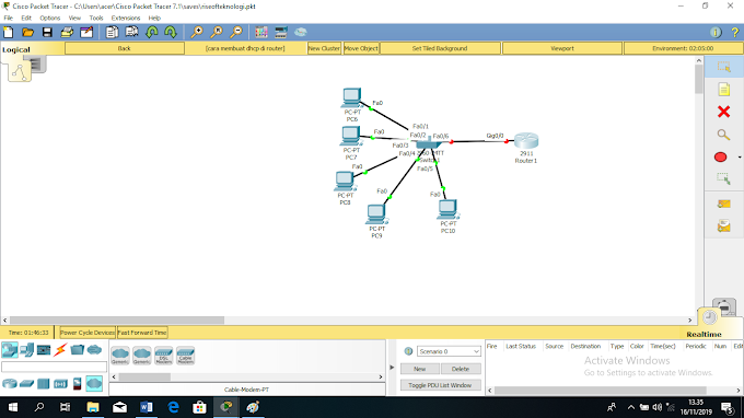 konfigurasi dhcp di router cisco packet tracer