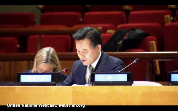 Pastorul general al Bisericii lui Dumnezeu, Kim Joo-choel, la conferința la nivel înalt a ONU CERF.