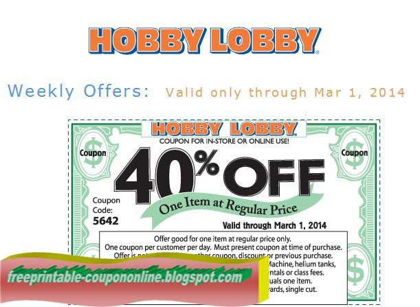 Hobby lobby online coupon code