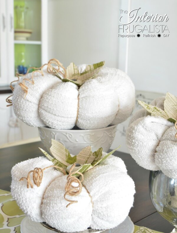 Sweater Pumpkins With Cabinet Knob Stems