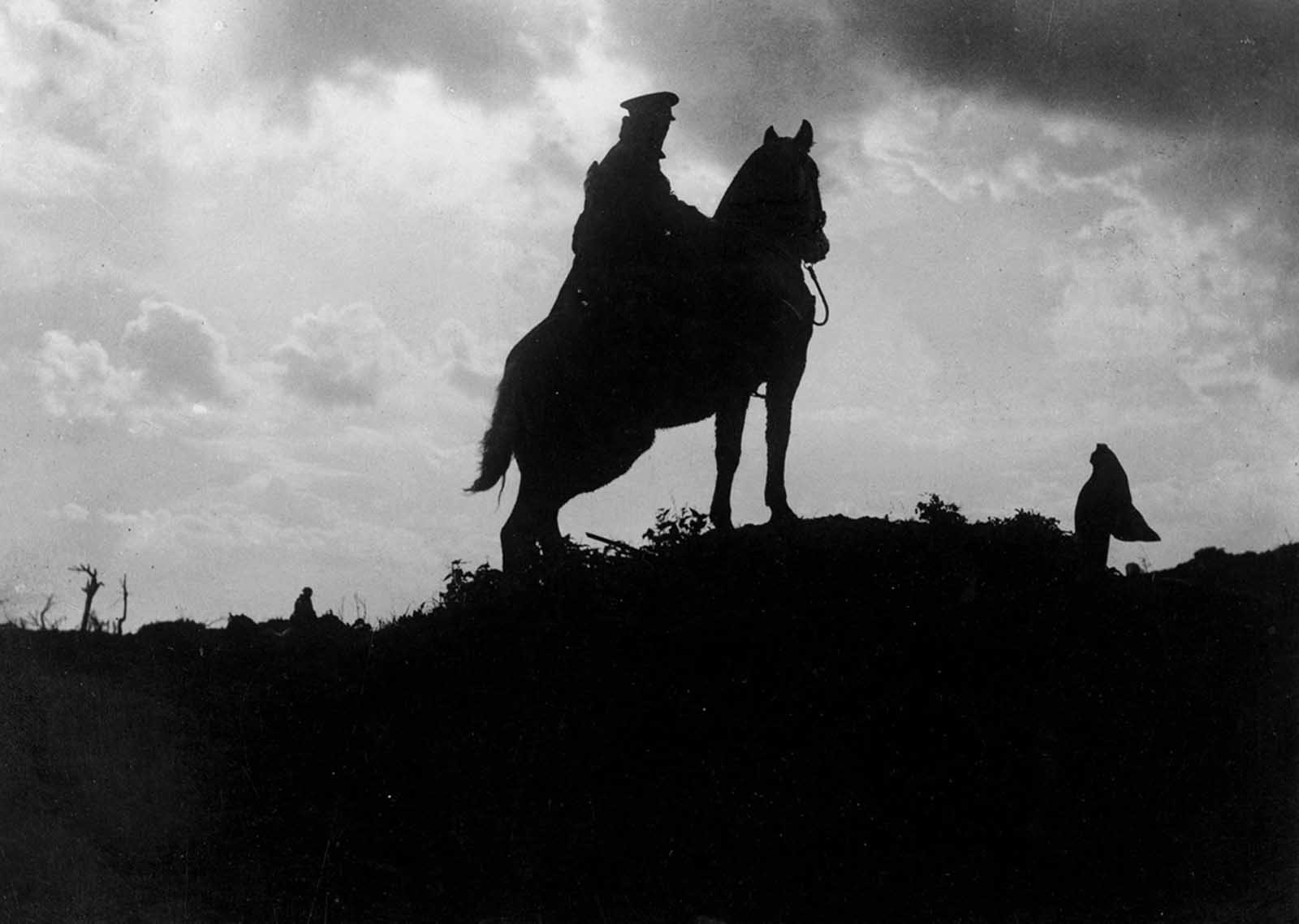 A single soldier on his horse, during a cavalry patrol in World War I. At the start of the war every major army had a substantial cavalry, and they performed well at first. However, the development of barbed wire, machine guns and trench warfare soon made attacks from horseback far more costly and ineffective on the Western Front. Cavalry units did prove useful throughout the war in other theatres though, including the Eastern Front, and the Middle East.