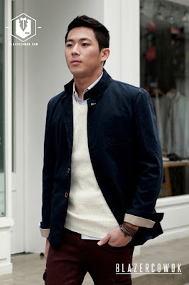 blazer cowok blazercowok.com jaket korean jas pria sk42 blue a