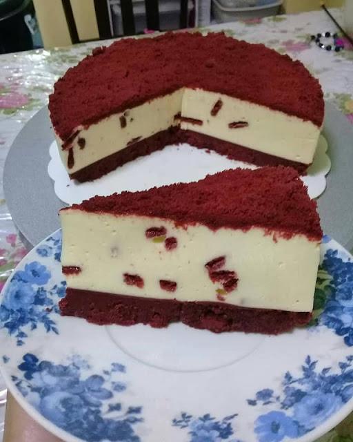 resepi red velvet oreo cheesecakea(no bake)