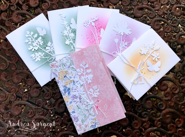 Here is a set of In Colour Note Cards featuring the Quiet Meadows bundle from Stampin' Up. There is a coordinating Note Card Holder, created without cutting or gluing, just scoring and folding. So cute.