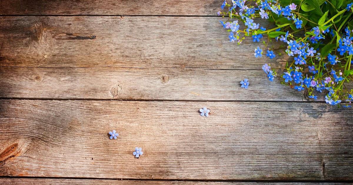 Houten wallpaper met blauwe bloemen  Mooie Leuke