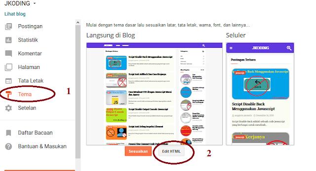 Tahap 1 Cara Memasang Blank Template Blogger
