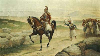 «Ο Κολοκοτρώνης έφιππος με συνοδεία στρατού» του ζωγράφου Νέστωρος Λέοντος Βαρβέρης (1867-1954) από την Συλλογή Κουτλίδη