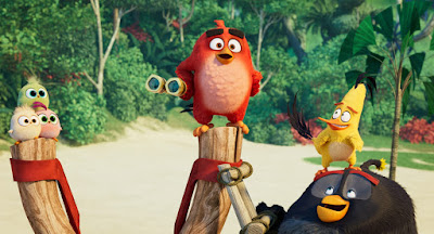 Movie still for the 2019 animated comedy The Angry Birds Movie 2 where Red, Chuck, the Hatchlings, and Bomb combat Leonard's pranks to keep Bird Island safe.