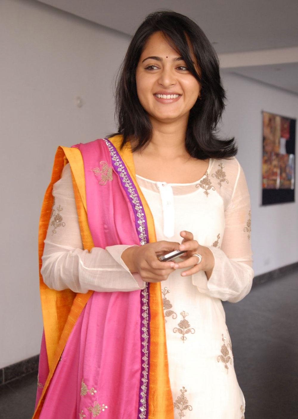 Tollywood Actress Anushka shetty Smiling Photos In Pink Churidar