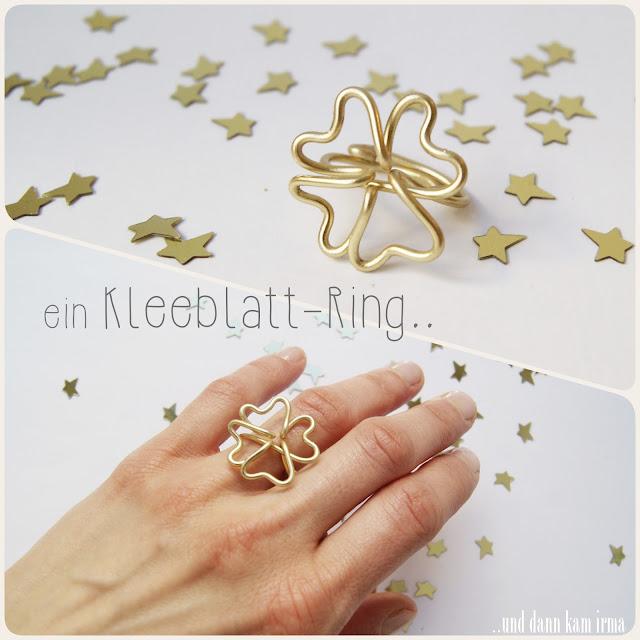 Anleitung, DIY, Drahtring, Kleeblatt, Neujahr, Ring, Silvester, Tutorial, vierblättriges Kleeblatt, Glücksbringer
