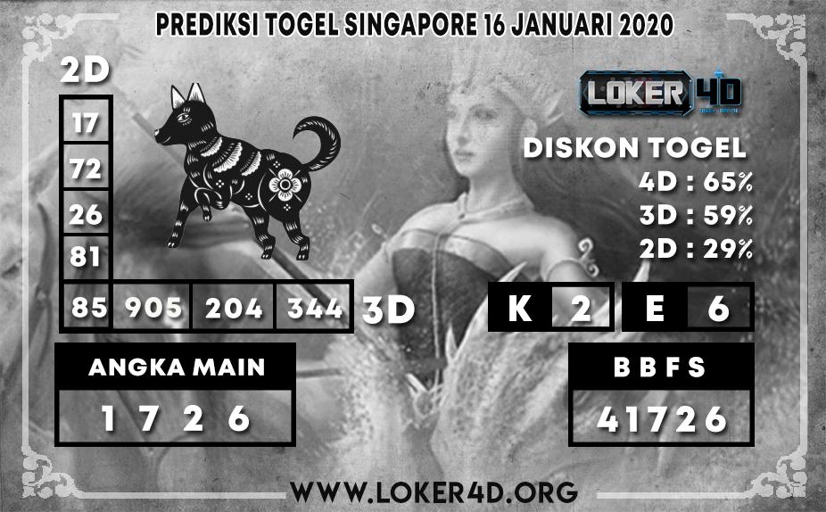 PREDIKSI TOGEL SINGAPORE LOKER4D 16 JANUARI 2020